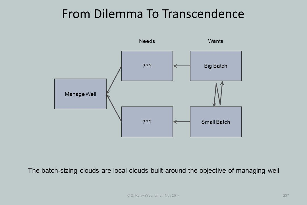 Small Batch??? © Dr Kelvyn Youngman, Nov 2014237 From Dilemma To Transcendence The batch-sizing clouds are local clouds built around the objective of