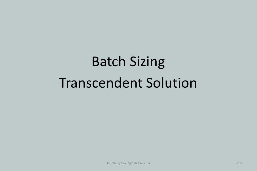 © Dr Kelvyn Youngman, Nov 2014258 Batch Sizing Transcendent Solution