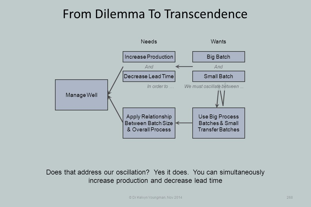 Use Big Process Batches & Small Transfer Batches Apply Relationship Between Batch Size & Overall Process © Dr Kelvyn Youngman, Nov 2014268 From Dilemma To Transcendence Does that address our oscillation.