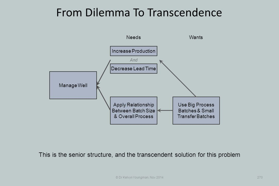 Use Big Process Batches & Small Transfer Batches Apply Relationship Between Batch Size & Overall Process © Dr Kelvyn Youngman, Nov 2014270 From Dilemma To Transcendence This is the senior structure, and the transcendent solution for this problem NeedsWants Manage Well And Decrease Lead Time Increase Production