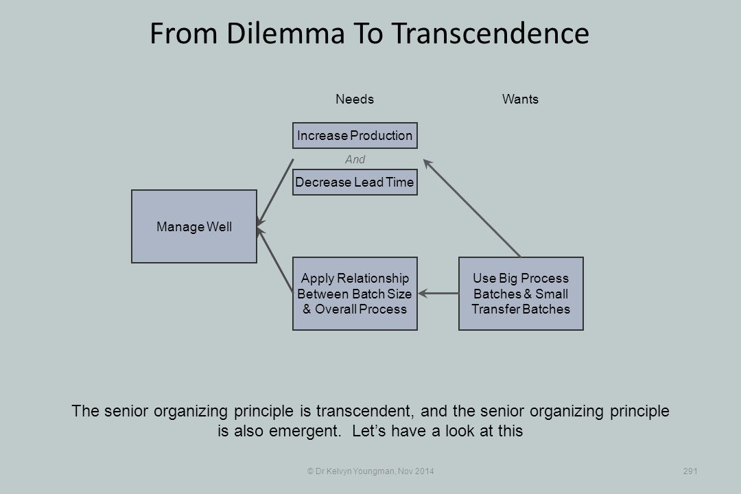 Use Big Process Batches & Small Transfer Batches Apply Relationship Between Batch Size & Overall Process © Dr Kelvyn Youngman, Nov 2014291 From Dilemma To Transcendence The senior organizing principle is transcendent, and the senior organizing principle is also emergent.