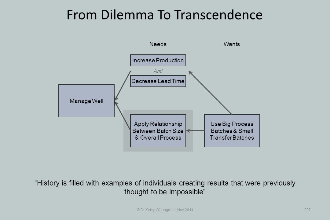 Use Big Process Batches & Small Transfer Batches Apply Relationship Between Batch Size & Overall Process © Dr Kelvyn Youngman, Nov 2014307 From Dilemma To Transcendence History is filled with examples of individuals creating results that were previously thought to be impossible NeedsWants Manage Well And Decrease Lead Time Increase Production