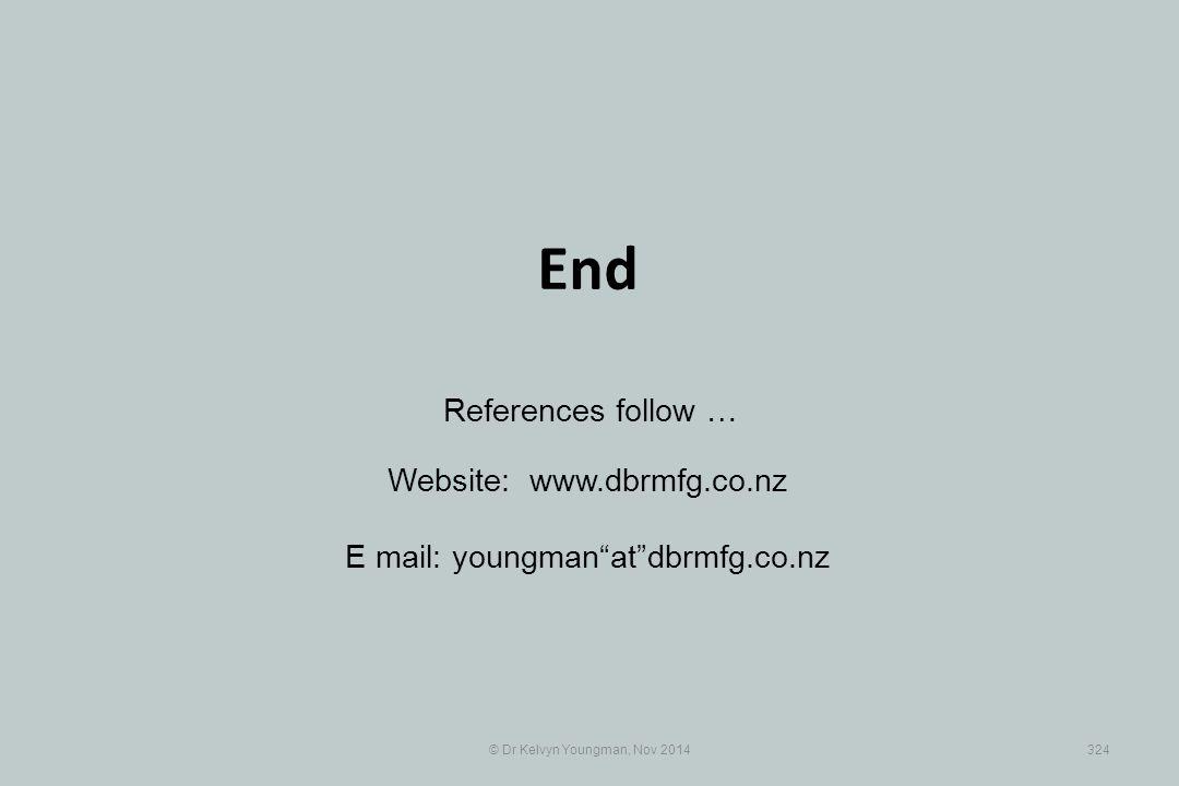 "© Dr Kelvyn Youngman, Nov 2014324 End Website: www.dbrmfg.co.nz E mail: youngman""at""dbrmfg.co.nz References follow …"