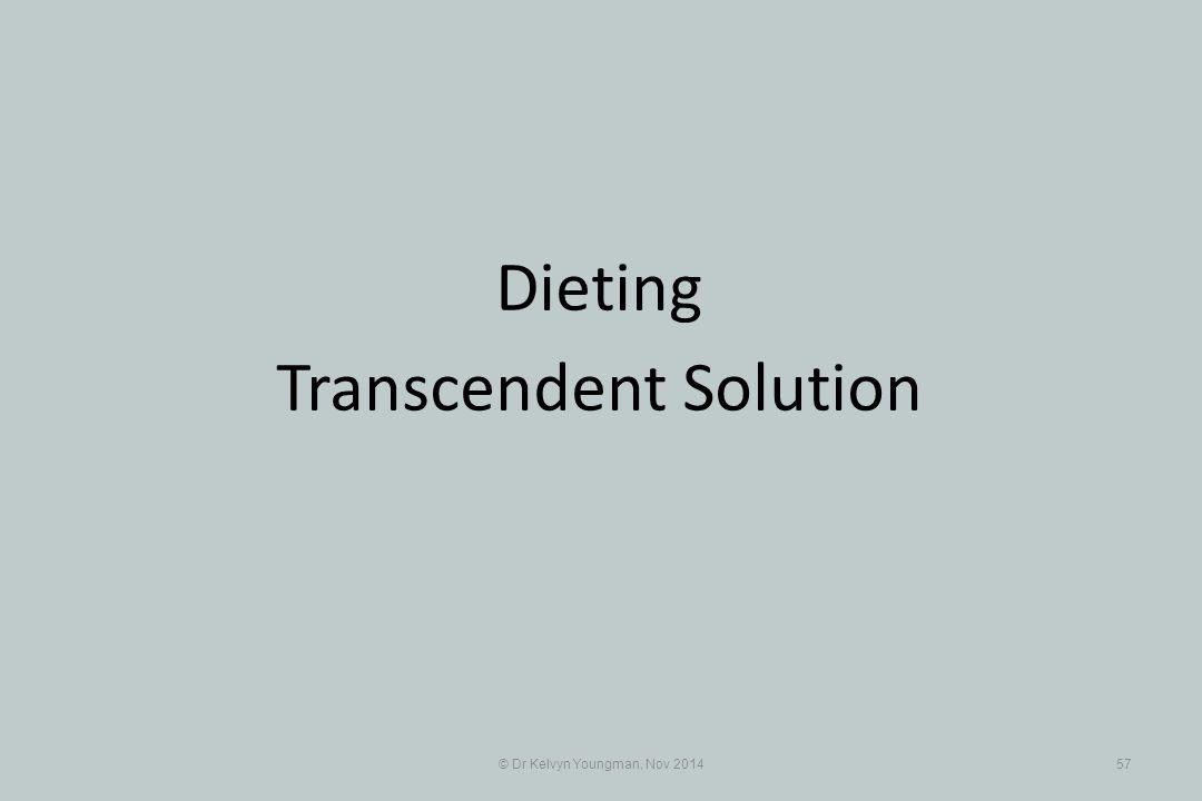 © Dr Kelvyn Youngman, Nov 201457 Dieting Transcendent Solution