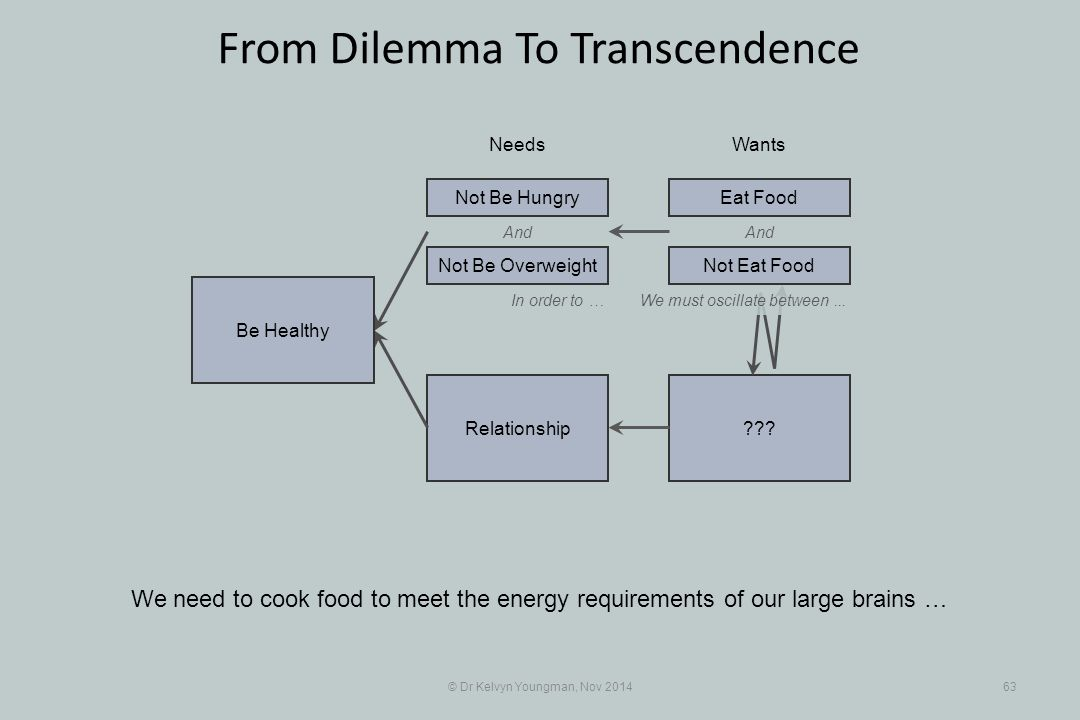 And Relationship © Dr Kelvyn Youngman, Nov 201463 From Dilemma To Transcendence We need to cook food to meet the energy requirements of our large brains … NeedsWants Be Healthy Not Be Overweight Not Be HungryEat Food And In order to …We must oscillate between...