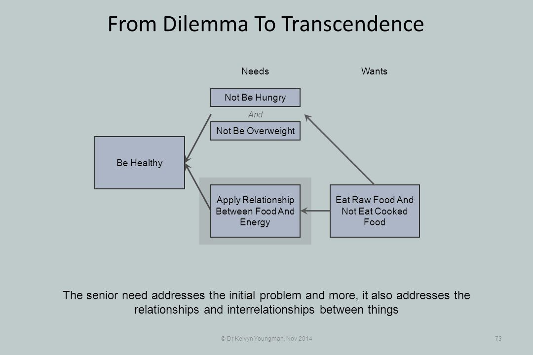 And Eat Raw Food And Not Eat Cooked Food © Dr Kelvyn Youngman, Nov 201473 From Dilemma To Transcendence The senior need addresses the initial problem