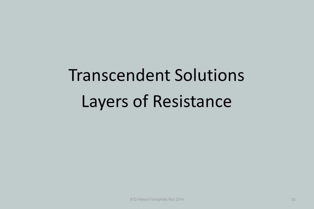 © Dr Kelvyn Youngman, Nov 201483 Transcendent Solutions Layers of Resistance