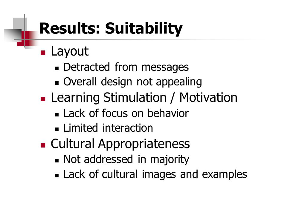 Results: Suitability Layout Detracted from messages Overall design not appealing Learning Stimulation / Motivation Lack of focus on behavior Limited interaction Cultural Appropriateness Not addressed in majority Lack of cultural images and examples