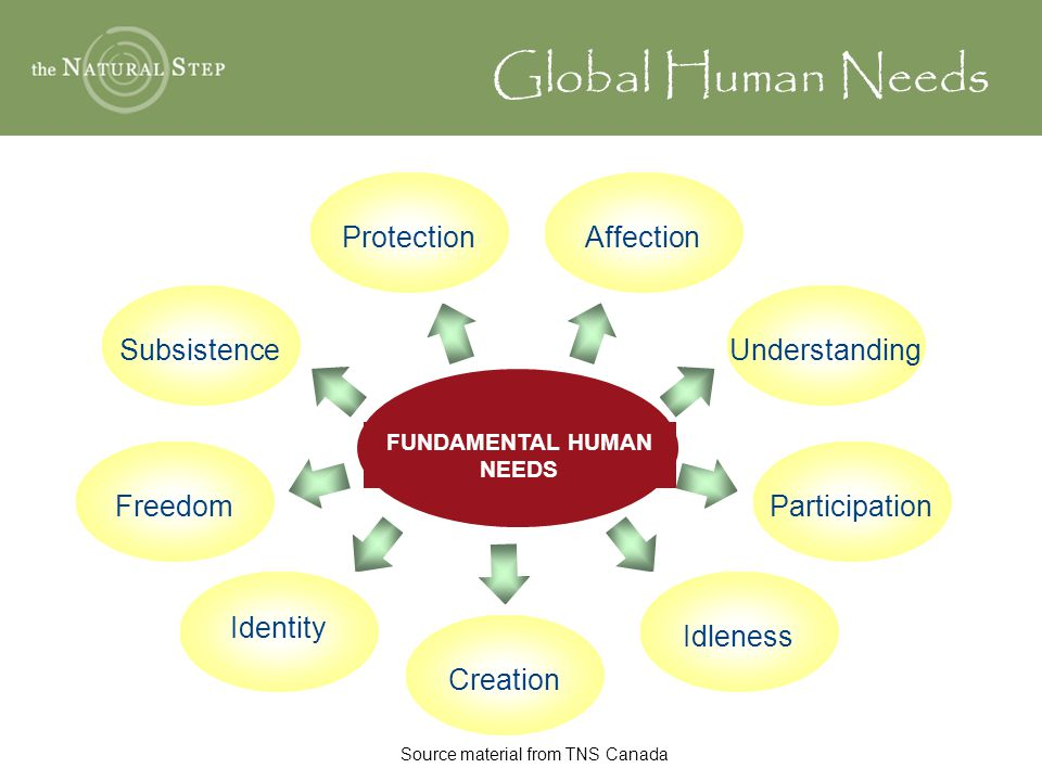 FUNDAMENTAL HUMAN NEEDS AffectionProtectionUnderstandingParticipationSubsistenceFreedom Identity Idleness Creation Global Human Needs Source material