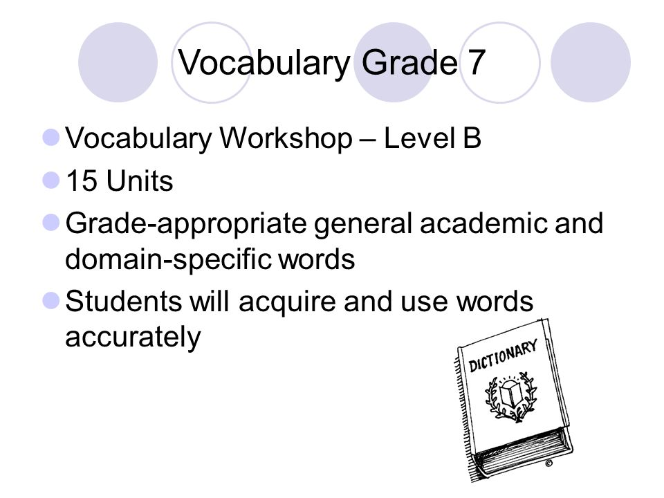 Vocabulary Grade 7 Vocabulary Workshop – Level B 15 Units Grade-appropriate general academic and domain-specific words Students will acquire and use w