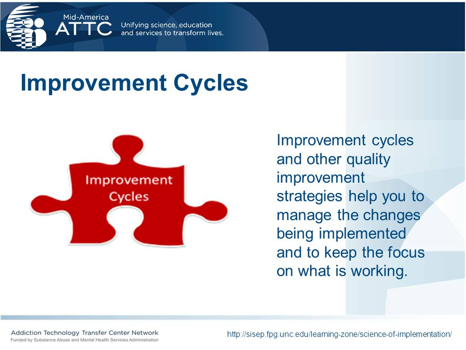 Improvement Cycles http://sisep.fpg.unc.edu/learning-zone/science-of-implementation/ Improvement cycles and other quality improvement strategies help