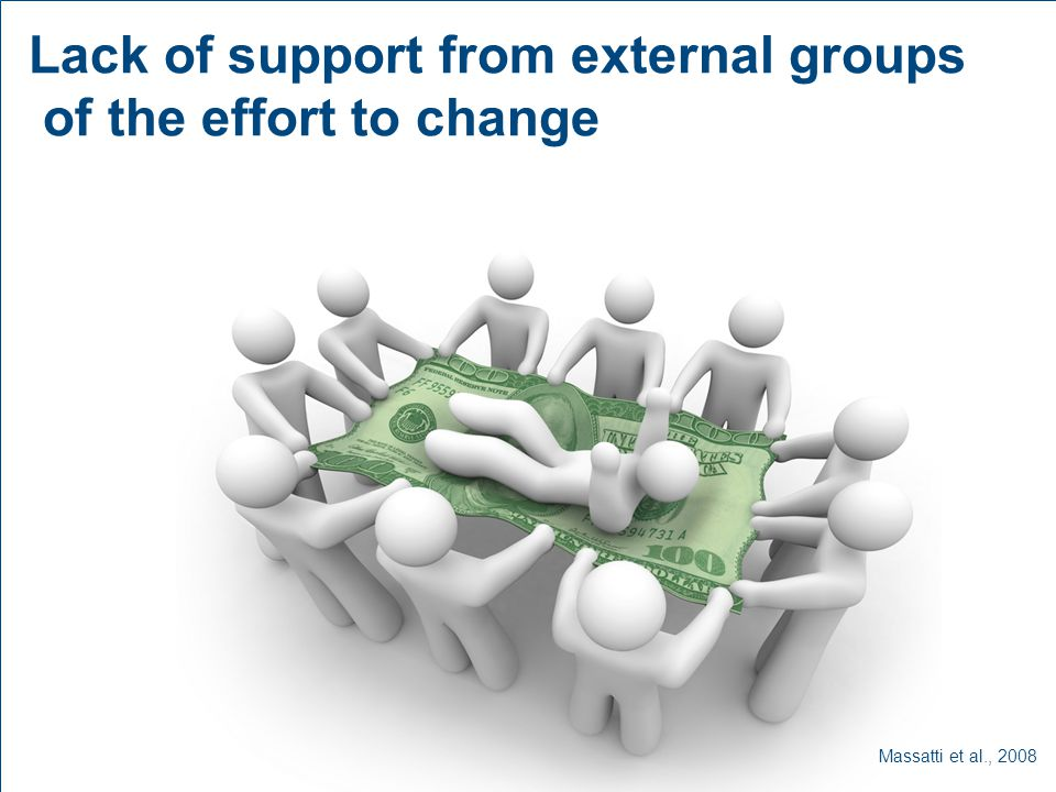 Lack of support from external groups of the effort to change Massatti et al., 2008