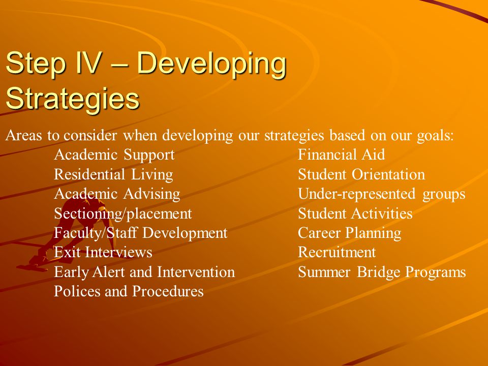 Step IV – Developing Strategies Areas to consider when developing our strategies based on our goals: Academic SupportFinancial Aid Residential LivingStudent Orientation Academic AdvisingUnder-represented groups Sectioning/placementStudent Activities Faculty/Staff DevelopmentCareer Planning Exit InterviewsRecruitment Early Alert and InterventionSummer Bridge Programs Polices and Procedures