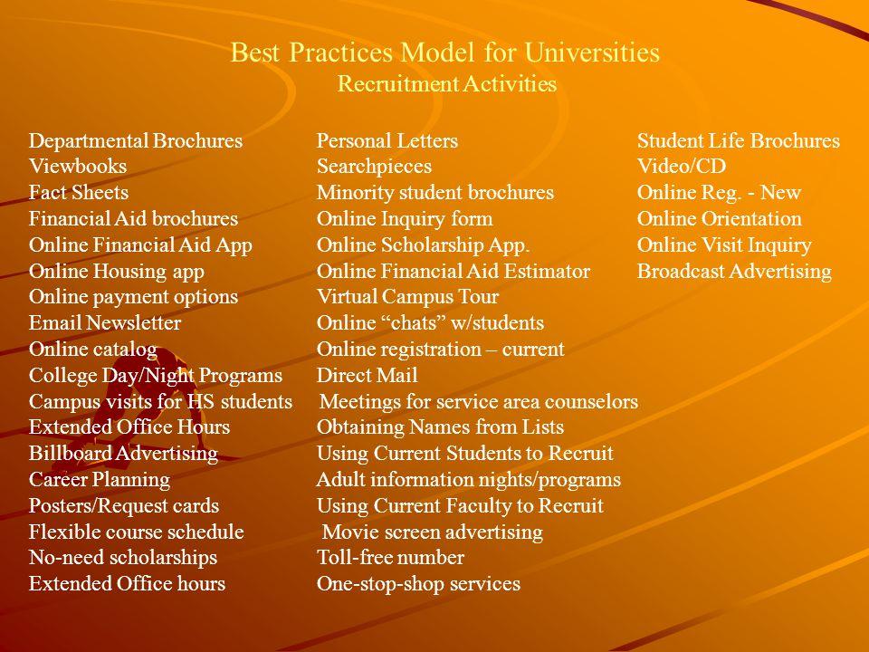 Best Practices Model for Universities Recruitment Activities Departmental Brochures Personal LettersStudent Life Brochures Viewbooks SearchpiecesVideo/CD Fact Sheets Minority student brochuresOnline Reg.