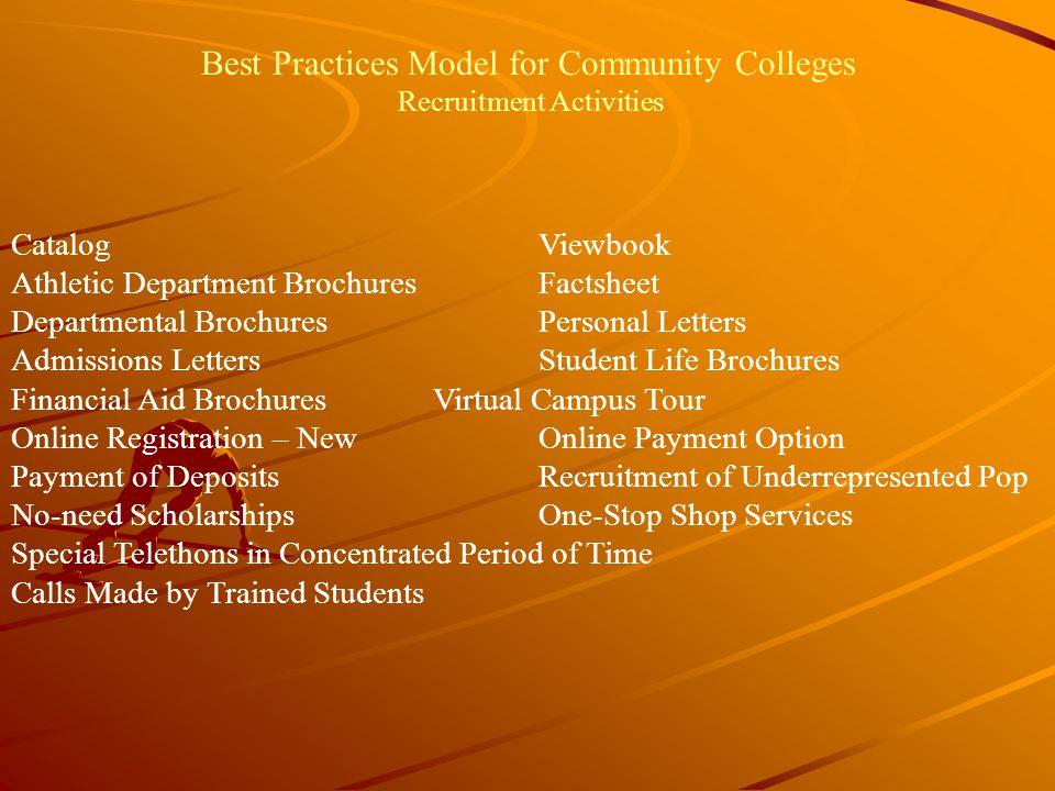 Best Practices Model for Community Colleges Recruitment Activities CatalogViewbook Athletic Department BrochuresFactsheet Departmental BrochuresPerson