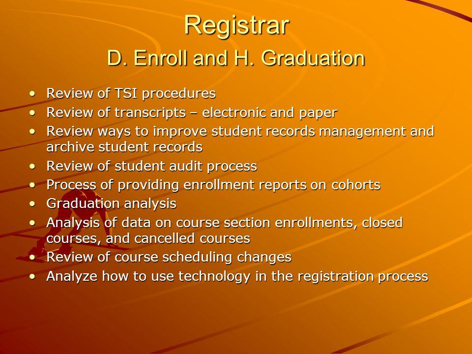Registrar D. Enroll and H.