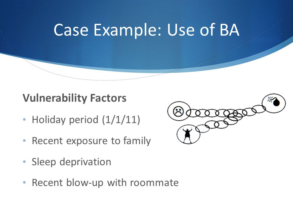 Case Example: Use of BA Vulnerability Factors Holiday period (1/1/11) Recent exposure to family Sleep deprivation Recent blow-up with roommate