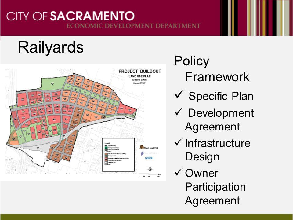 Railyards Policy Framework Specific Plan Development Agreement Infrastructure Design Owner Participation Agreement