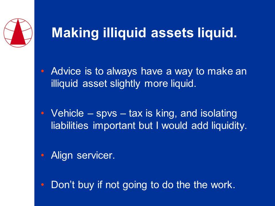Making illiquid assets liquid.