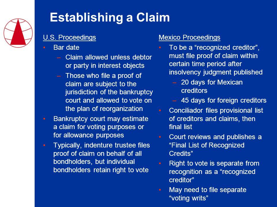 Establishing a Claim U.S.