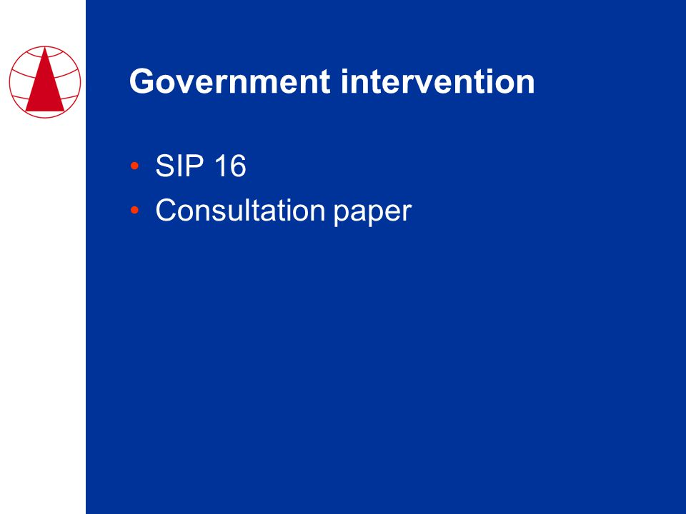 Government intervention SIP 16 Consultation paper
