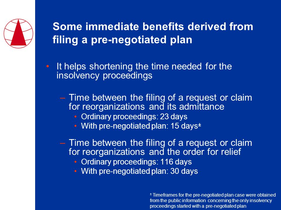 Some immediate benefits derived from filing a pre-negotiated plan It helps shortening the time needed for the insolvency proceedings –Time between the filing of a request or claim for reorganizations and its admittance Ordinary proceedings: 23 days With pre-negotiated plan: 15 days ± –Time between the filing of a request or claim for reorganizations and the order for relief Ordinary proceedings: 116 days With pre-negotiated plan: 30 days ± Timeframes for the pre-negotiated plan case were obtained from the public information concerning the only insolvency proceedings started with a pre-negotiated plan