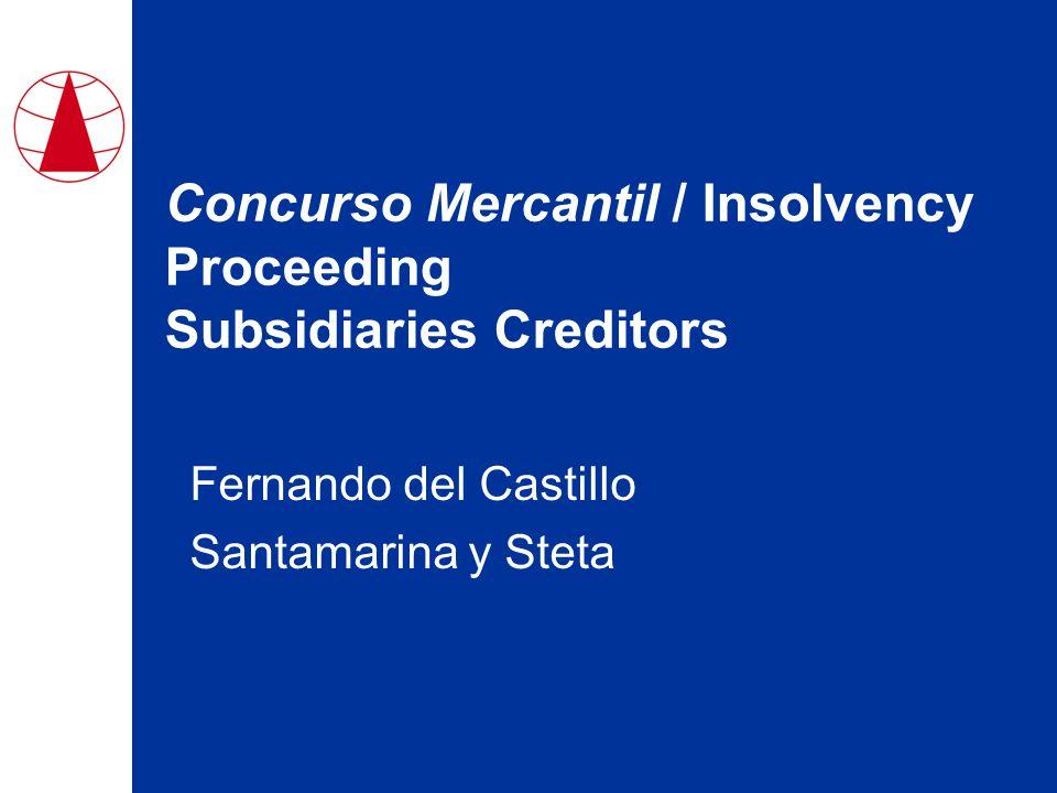 Concurso Mercantil / Insolvency Proceeding Subsidiaries Creditors Fernando del Castillo Santamarina y Steta