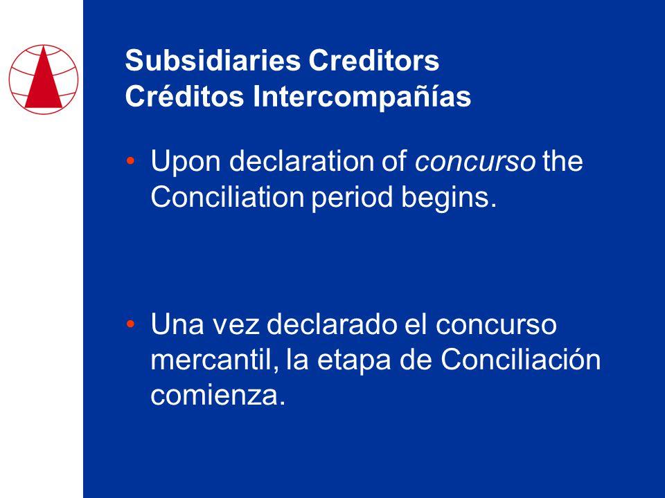 Subsidiaries Creditors Créditos Intercompañías Upon declaration of concurso the Conciliation period begins.