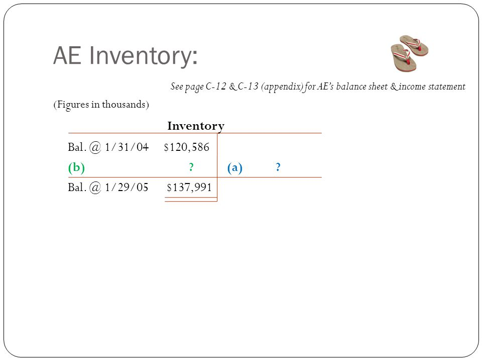 AE Inventory: See page C-12 & C-13 (appendix) for AE's balance sheet & income statement (Figures in thousands) Inventory Bal. @ 1/31/04 $120,586 (b) ?