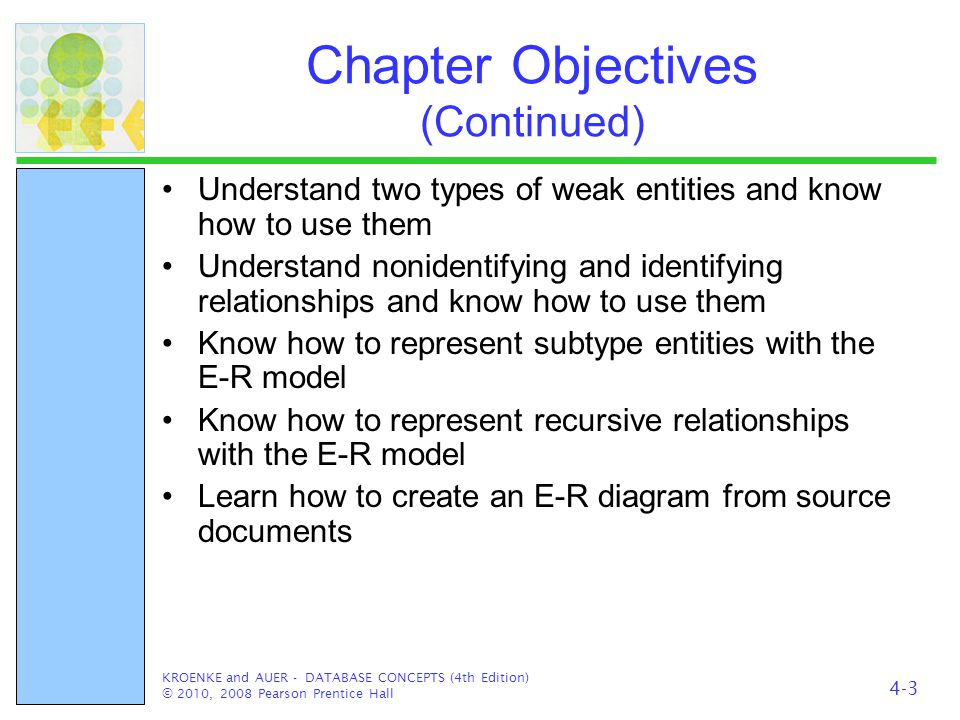 Chapter Objectives (Continued) Understand two types of weak entities and know how to use them Understand nonidentifying and identifying relationships