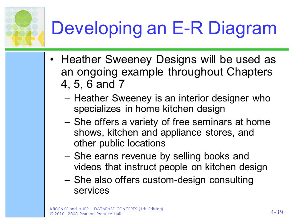 Developing an E-R Diagram Heather Sweeney Designs will be used as an ongoing example throughout Chapters 4, 5, 6 and 7 –Heather Sweeney is an interior