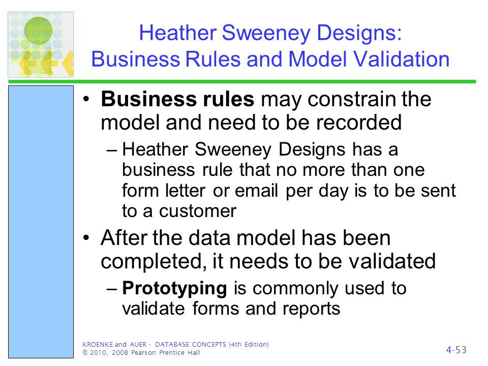 Heather Sweeney Designs: Business Rules and Model Validation Business rules may constrain the model and need to be recorded –Heather Sweeney Designs h