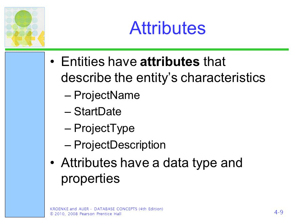 Identifiers Entity instances have identifiers An identifier will identify a particular instance in the entity class –SocialSecurityNumber –StudentID –EmployeeID KROENKE and AUER - DATABASE CONCEPTS (4th Edition) © 2010, 2008 Pearson Prentice Hall 4-10