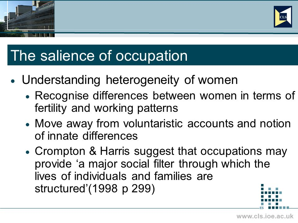 www.cls.ioe.ac.uk The salience of occupation  Understanding heterogeneity of women  Recognise differences between women in terms of fertility and wo