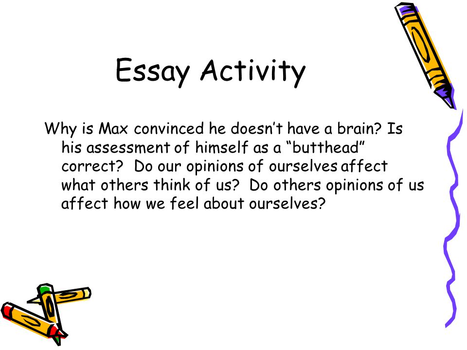 Essay Activity Why is Max convinced he doesn't have a brain.