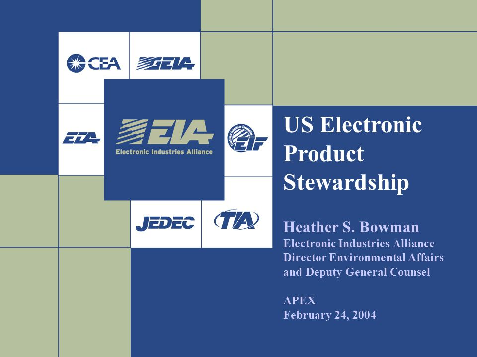 2 Presentation Overview I.Electronic Industries Alliance II.Elements of Global Regulations driving Electronics Product Stewardship in the United States III.United States Environmental Laws III.2004 Legislation – Electronics Recycling IV.Voluntary Initiatives V.Questions/For More Information