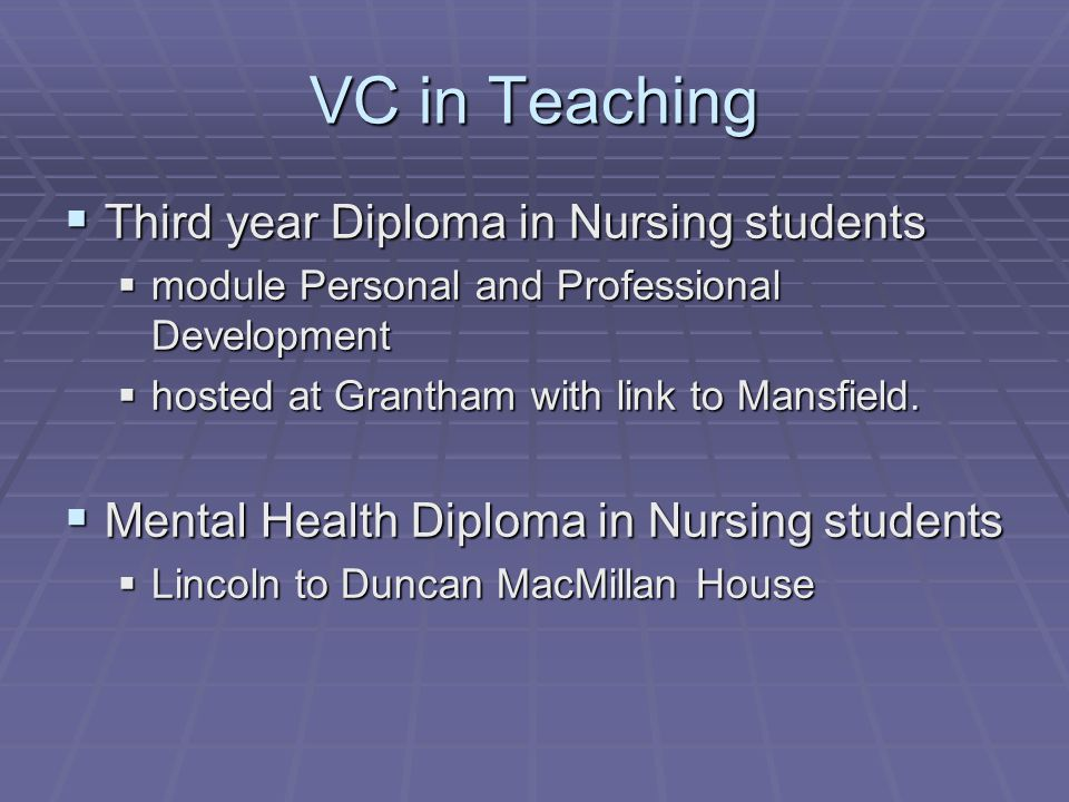 VC in Teaching  Third year Diploma in Nursing students  module Personal and Professional Development  hosted at Grantham with link to Mansfield.