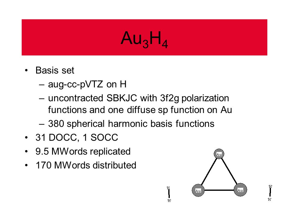 Au 3 H 4 Basis set –aug-cc-pVTZ on H –uncontracted SBKJC with 3f2g polarization functions and one diffuse sp function on Au –380 spherical harmonic basis functions 31 DOCC, 1 SOCC 9.5 MWords replicated 170 MWords distributed