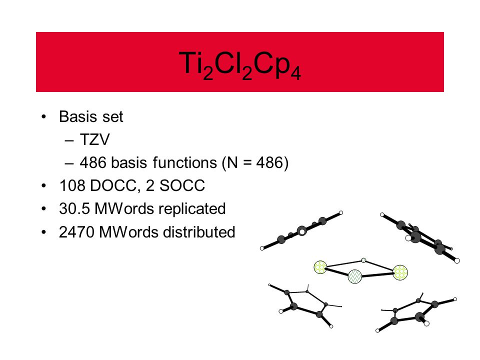 Ti 2 Cl 2 Cp 4 Basis set –TZV –486 basis functions (N = 486) 108 DOCC, 2 SOCC 30.5 MWords replicated 2470 MWords distributed