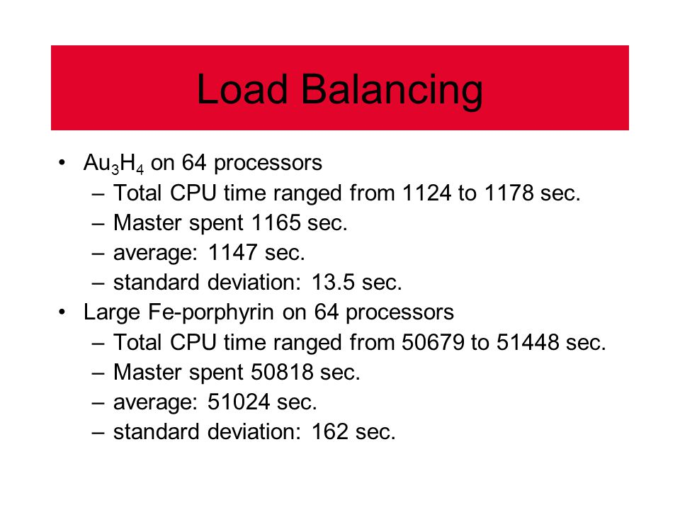 Load Balancing Au 3 H 4 on 64 processors –Total CPU time ranged from 1124 to 1178 sec.
