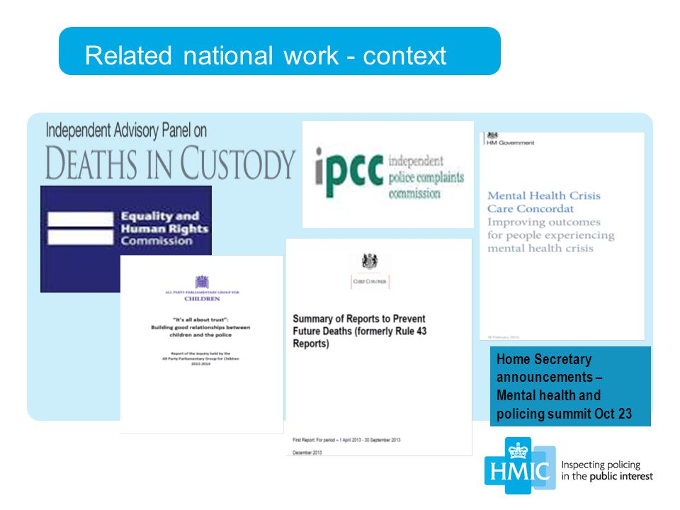 Home Secretary announcements – Mental health and policing summit Oct 23 Related national work - context