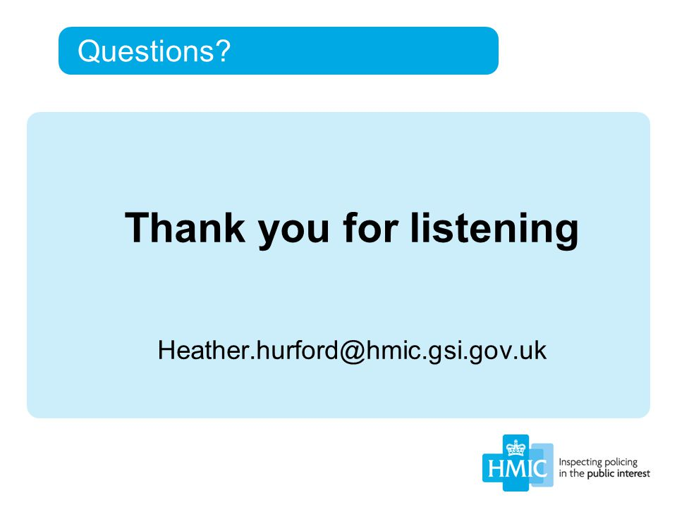 Questions? Thank you for listening Heather.hurford@hmic.gsi.gov.uk