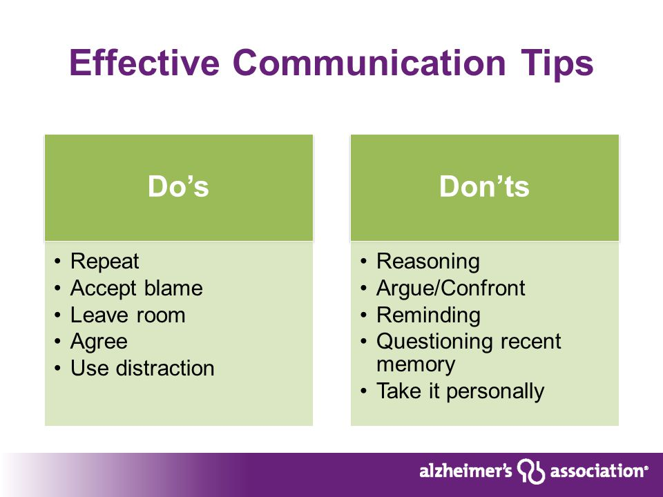 Effective Communication Tips Do's Repeat Accept blame Leave room Agree Use distraction Don'ts Reasoning Argue/Confront Reminding Questioning recent memory Take it personally