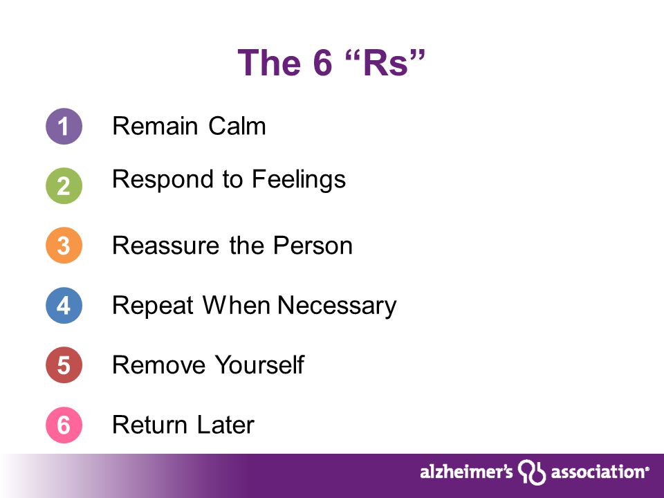 The 6 Rs 1 Remain Calm Respond to Feelings Reassure the Person Repeat When Necessary 2 Remove Yourself Return Later 3 4 5 6