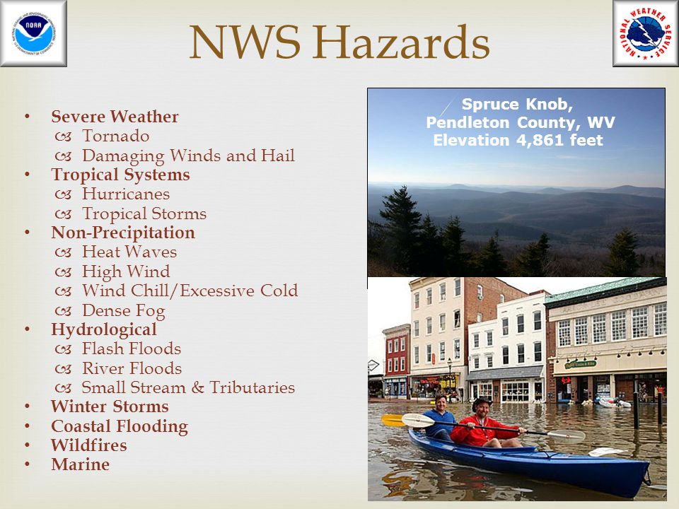 NWS Hazards Severe Weather  Tornado  Damaging Winds and Hail Tropical Systems  Hurricanes  Tropical Storms Non-Precipitation  Heat Waves  High W