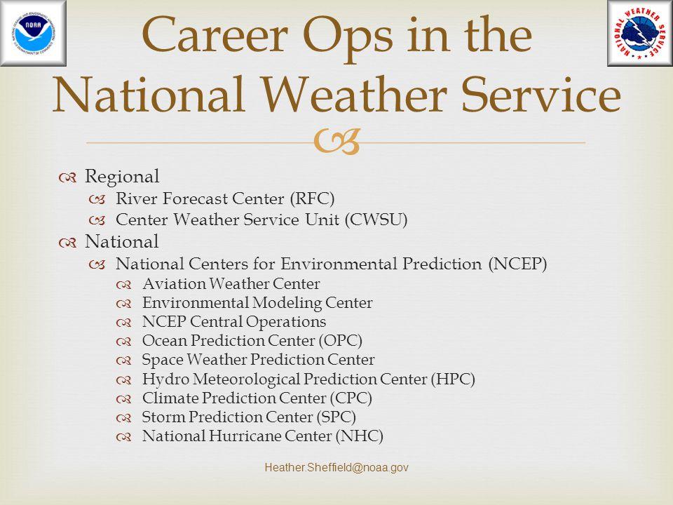   Regional  River Forecast Center (RFC)  Center Weather Service Unit (CWSU)  National  National Centers for Environmental Prediction (NCEP)  Av