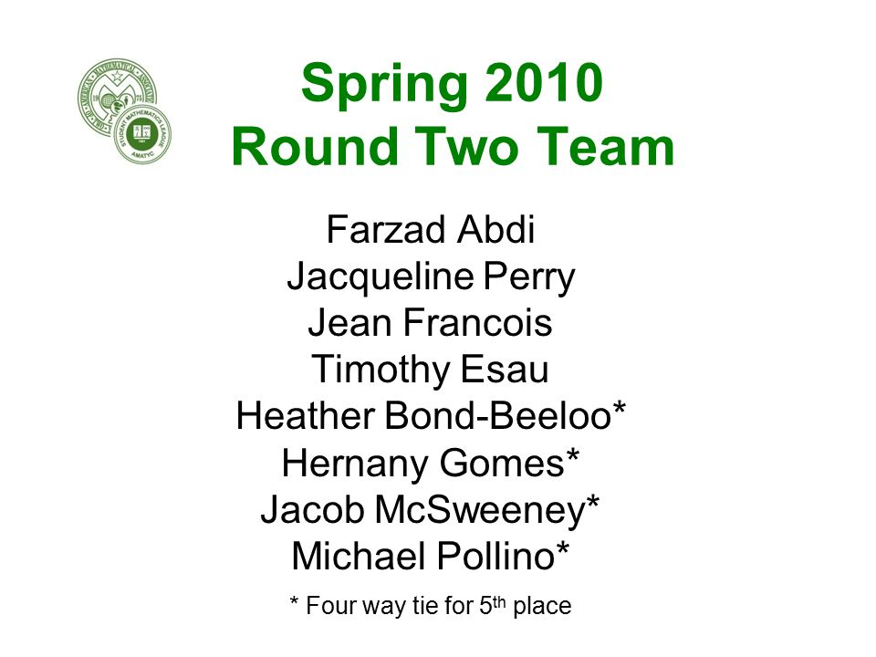 Spring 2010 Round Two Team Farzad Abdi Jacqueline Perry Jean Francois Timothy Esau Heather Bond-Beeloo* Hernany Gomes* Jacob McSweeney* Michael Pollino* * Four way tie for 5 th place