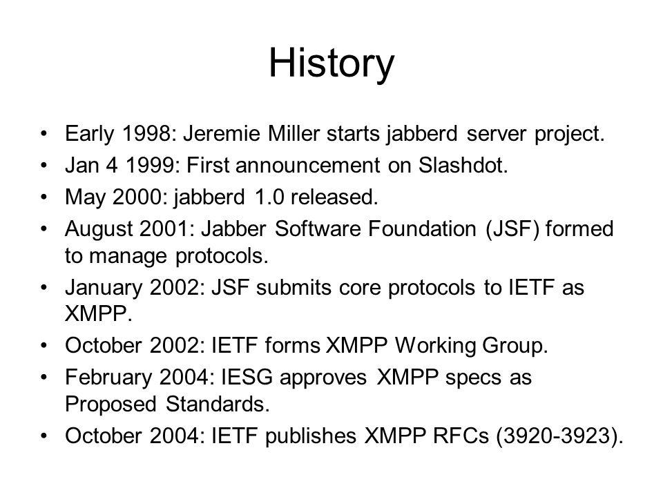 History Early 1998: Jeremie Miller starts jabberd server project.
