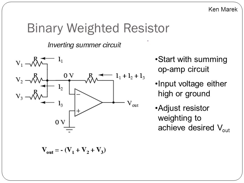 Binary Weighted Resistor Start with summing op-amp circuit Input voltage either high or ground Adjust resistor weighting to achieve desired V out Ken