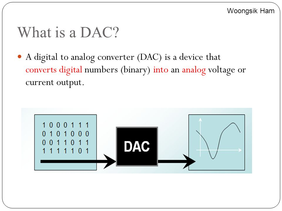 What is a DAC? A digital to analog converter (DAC) is a device that converts digital numbers (binary) into an analog voltage or current output. Woongs